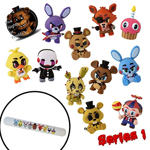 Funko FNaF 1 2 3 Five Nights at Freddy's Game (Complete 11 Piece Set) Toys Mystery Minis Action Figures & Slap Bracelet - Foxy Golden Freddy Fazbear Springtrap Chica Cupcake Balloon Boy (Custom Made Captain America Costume)