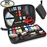 7 8 sewing buttons - SEWING KIT - 90 Quality Easy Access Essential Sewing Supplies, Packed with Longer Spools of Thread, Scissors, Includes Easy to Thread Needle, Perfect Starter, Adults, Beginners, Best For Home, Travel