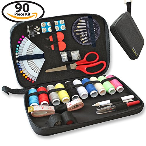 SEWING KIT - 90 Quality Easy Access Essential Sewing Supplies, Packed with Longer Spools of Thread, Scissors, Includes Easy to Thread Needle, Perfect Starter, Adults, Beginners, Best For Home, Travel (Thread Starter)