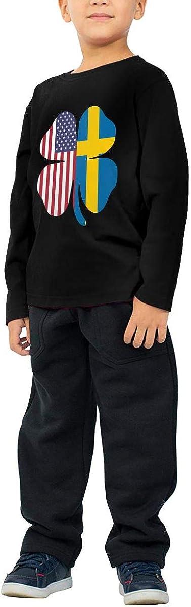 CERTONGCXTS Childrens American Sweden Flag Shamrock ComfortSoft Long Sleeve Tee