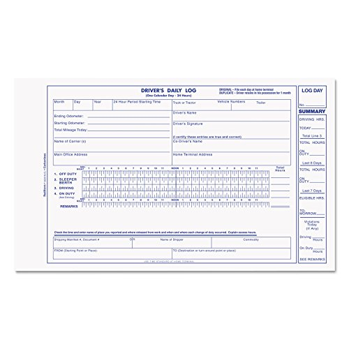 REDIFORM OFFICE PRODUCTS S5031NCL Driver`s Daily Log, 5-3/8 x 8 3/4 , Carbonless Duplicate, 31 Sets/Book Rediform Drivers Log