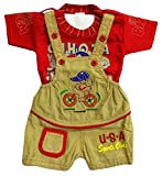 Miss U Baby Boys Baby Girls Kids High Quality Soft Denim Dungaree Set With T-Shirt (RED, 12-18 Months)
