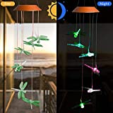 CXFF LED Solar Dragonfly Wind Chimes Outdoor – Waterproof Solar Powered LED Changing Light Color Six Dragonflies Mobile Romantic Wind-Bell for Home, Party, Festival Decor, Night Garden Decoration Review