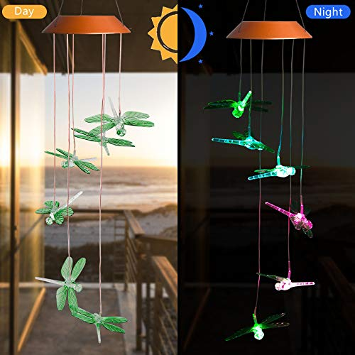 CXFF LED Solar Dragonfly Wind Chimes Outdoor - Waterproof Solar Powered LED Changing Light Color Six Dragonflies Mobile Romantic Wind-Bell for Home, Party, Festival Decor, Night Garden Decoration