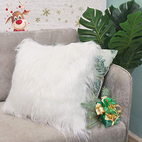 Keriqi Double Side Christmas Decorative Luxury Pure White Fur Throw Pillow Cases Cushion Cover Pillow Cover for Bed (18