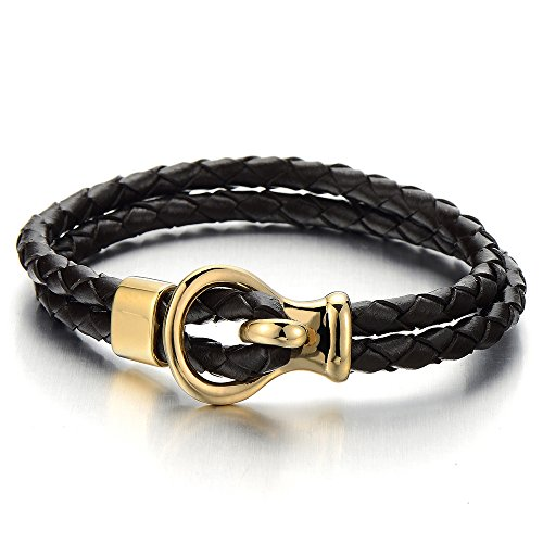 COOLSTEELANDBEYOND Men's Double-Strand Brown Braided Leather Bangle Bracelet Wristband with Steel Gold Buckle Clasp Double Strand Leather Bracelet