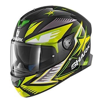 Shark SKWAL 2 draghal cascos de motocicleta, color negro/amarillo, ...