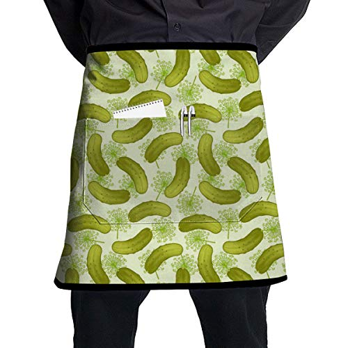 ZZJIAK Dill Pickles Apron with Pockets Locked£¨21.2 X17.7 Inches£Restaurant Half for Cooking Baking Crafting Gardening BBQ