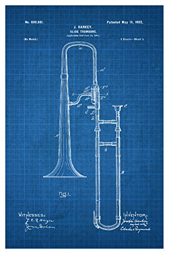 Instrument Family Posters (Trombone - White on Blue - Instrument Patents - 16x24 Matte Poster Print Wall Art)