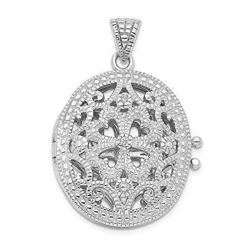 925 Sterling Silver Cubic Zirconia Cz Photo Pendant Charm Locket Chain Necklace That Holds Pictures Oval Fine Jewelry Gifts For Women For Her ()