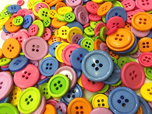 Buttons Bright (400 Pieces Assorted Buttons For Crafts Mixed Color Resin Round Buttons Craft Buttons Favorite Findings Basic Buttons Assorted Sizes for Sewing Fasteners Scrapbooking and DIY Craft (400 Pieces))