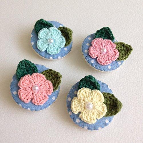 Price comparison product image J.PROUD set 4 pcs. Adorable crochet flowers baby hair alligator clips hair accessory 100% handmade