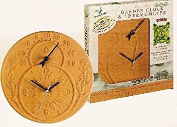 Good SUPERB REAL TERRACOTTA GARDEN CLOCK THERMOMETER
