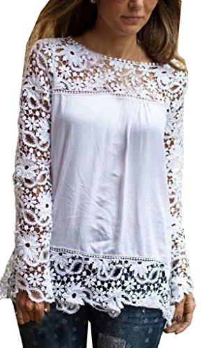 Lovaru Women's White Lace Sleeve Chiffon Patchwork Shirt Fashion Blouse from Lovaru