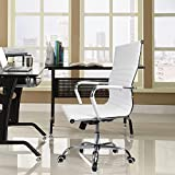 Devoko Modern Ribbed Office Chair Ergonomic Height Adjustable Swivel Desk Chair Mid Back Conference Chair Pu Leather (White)