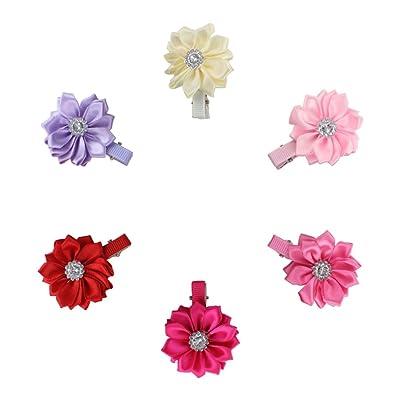 12 Piezas pinzas De Pelo Infantil Diseño De Flor Clip De Pelo Niñas Adornos Para El Pelo