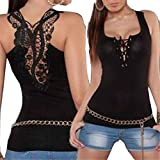 Sleeveless Camisole,Hemlock Women Bandage Tank Top Summer Sexy Lace Sport Vest (L, Black)