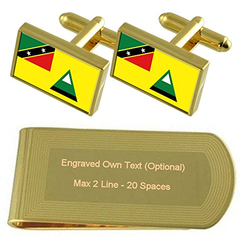 Cufflinks Local tone Gold Flag Set Nevis Gift Money Engraved Clip wIxZTfq