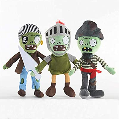 LZQ Plants VS Zombies 1 2 PVZ Stuffed Plush Toy for Children & Games Fans, Geart Gift for Halloween, Christmas (Set of 3 Zombie A): Toys & Games