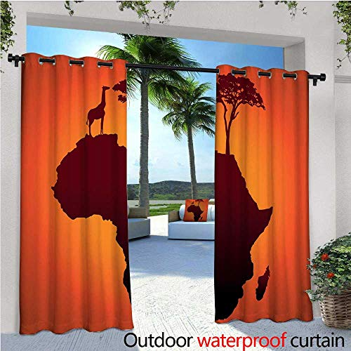 cobeDecor African Exterior/Outside Curtains Safari Map with Continent Giraffe and Tree Silhouette Savannah Wild Design for Patio Light Block Heat Out Water Proof Drape W72 x L84 Orange and Brown