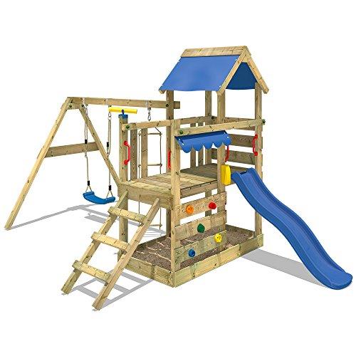WICKEY Torre de escalade con columpio y tobogán - Calidad y seguridad aprobada - Varias opciones de montaje Madera maciza impregnada a presión - Poste 9x4,5cm - Poste de columpio 9x9cm - Cajón de arena integrado Instrucciones de montaje detalladas - Muro para trepar - Todos los tornillos necesarios - Toldo