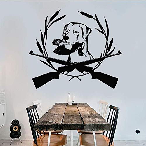 Animals Wall Sticker Dog Home Decoration Vinyl Wall Decal Gun Wildfowl Removable Self Adhesive Mural Living Room Modern 66X57Cm