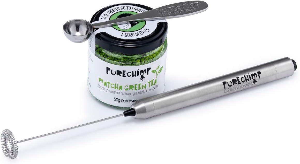 PureChimp - Juego de té matcha para té matcha (50 g, batidor eléctrico, cuchara matcha)