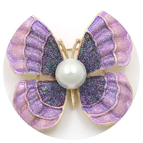 DARLING HER Beautiful Enameled and Crystal Diamante Butterfly Brooch Pins for Women Clothing Accessories in Assorted 7980 Purple