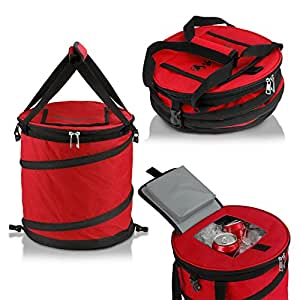 GigaTent Red 24 Can Pop Up Cooler - Lightweight, Insulated, Waterproof, Portable and Collapsible - For Travel, Picnics, Hiking, Camping and BBQ