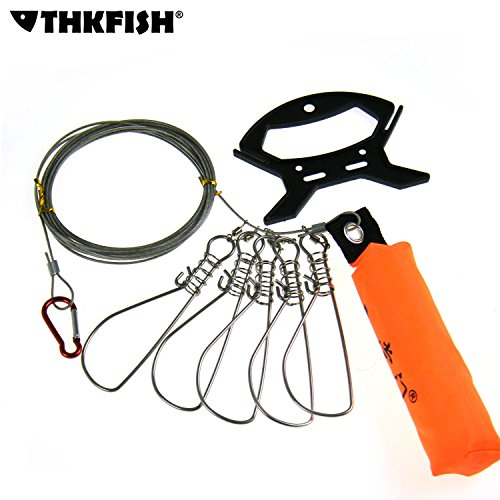 1set-5meter-16inch-Fishing-Stringer-Fish-Lock-5-Snap-Stainless-Steel-Ropes-Float