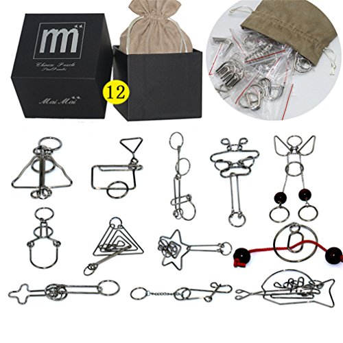 High Difficulty - 12 Pieces Metal Wire Brain Teaser - Assembly & Disentanglement Puzzles Toys - Magic Trick Toys Puzzles Set - Ideal Gifts Kids Adults by Meao