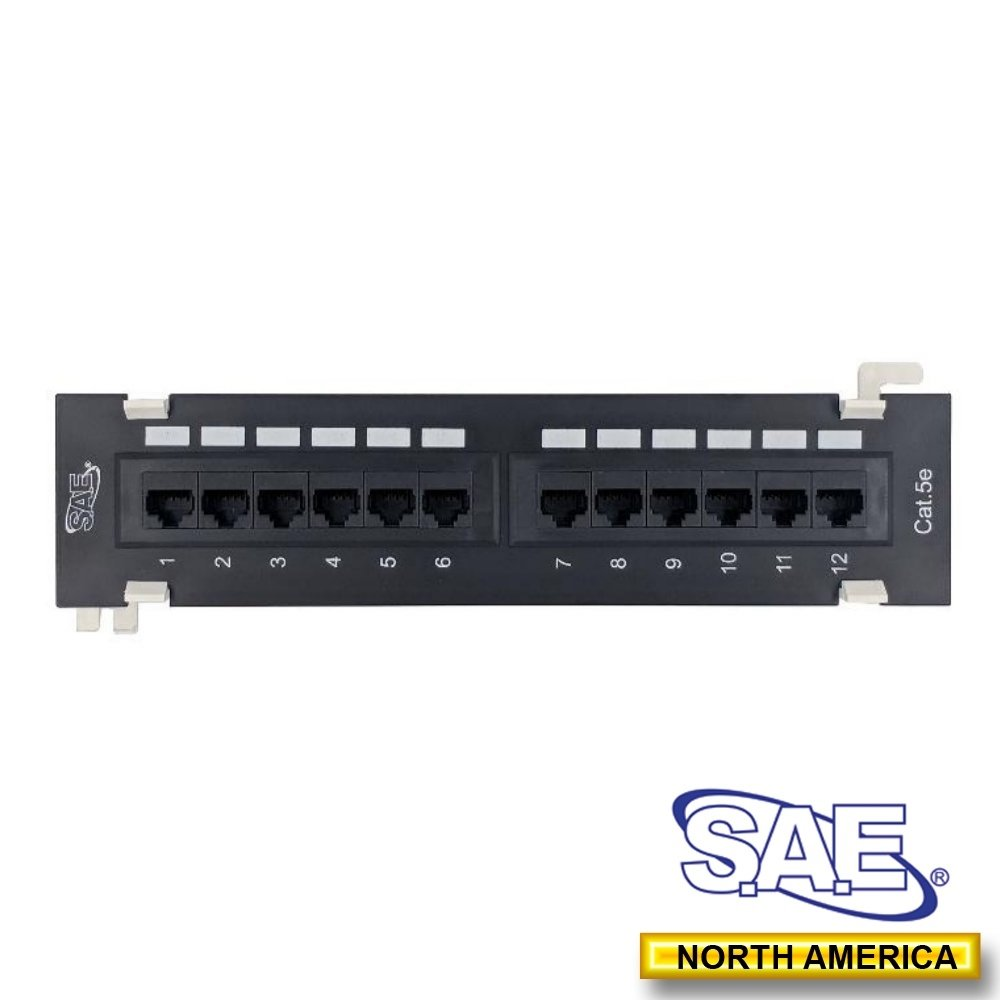 SAE UTP Cat5e Patch Panel, 12Port Wall- Mounted Type,110 IDC [Ship from Canada by AVS- Audio Video Solutions] SAE12CAT5