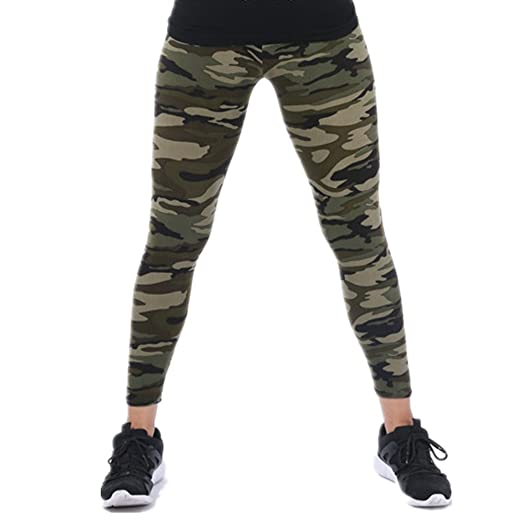 44821eadc759a Tamskyt Womens Ultra Soft High Waist Printed Camo Leggings (Army Green)