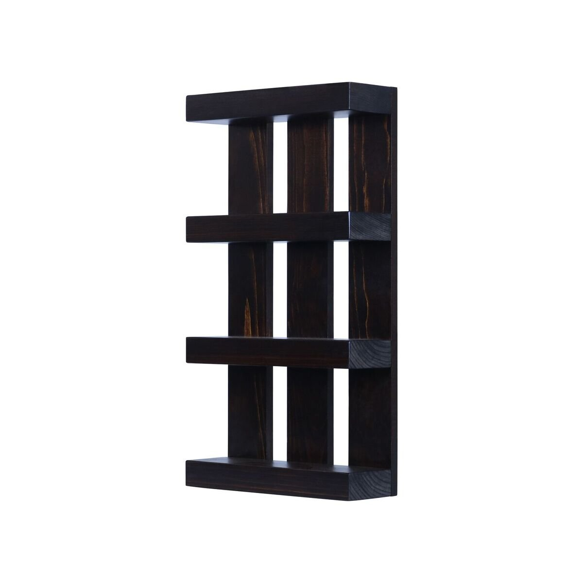 Solid Wood 4 tier Wall Mount Shelves Home Decor Decoration for Bathroom, Living Room, Kitchen and Entryway Made in the USA by Rooms Organized (Expresso, 22'' h x 15'' w x 4.25'' deep) by Rooms Organized (Image #2)