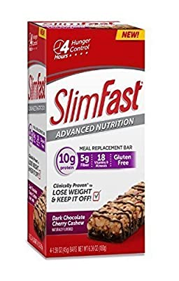 Slim Fast Advanced Nutrition Meal Replacement Bar, Chocolate Cherry Cashew, 4 Bars (Pack of 2)