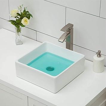 Vessel Sink Topmount Logmey 15 X15 Square Bathroom Vessel Sink Above Counter White Porcelain Ceramic Vanity Sink Art Basin Amazon Com