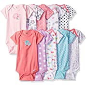 Gerber Baby Girls' 10 Pack Onesies Bundle, Elephant/Birdie, 0-3 Months