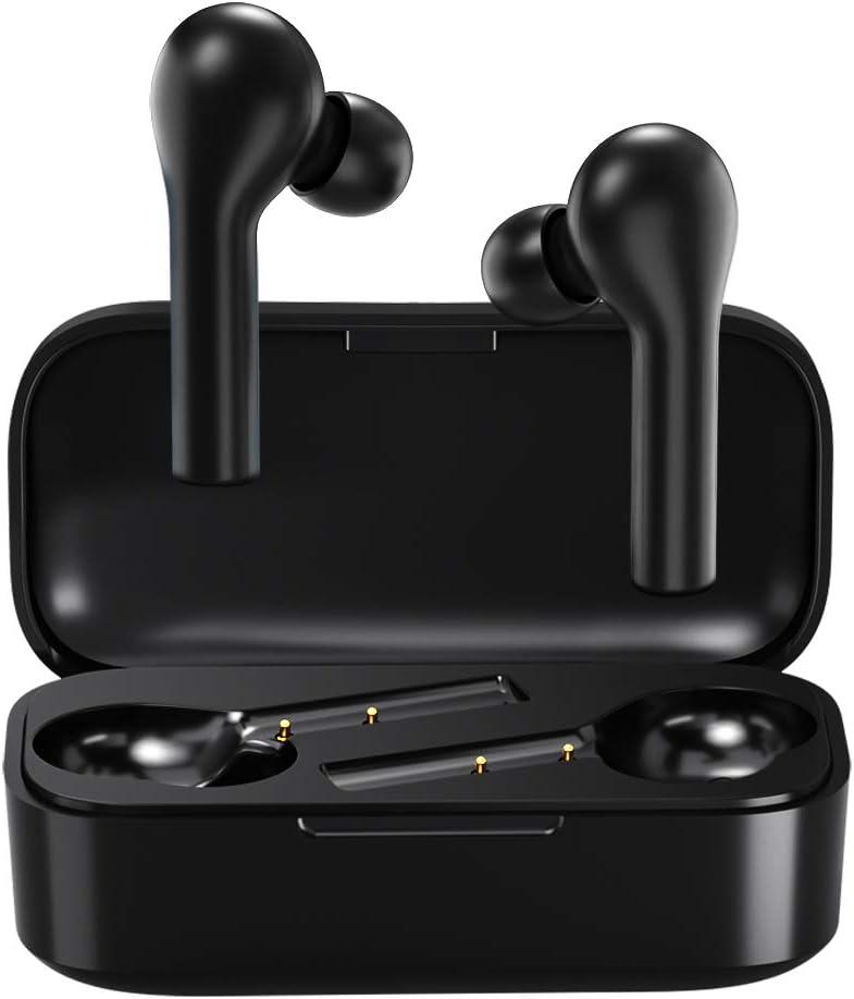 Auriculares Bluetooth con Modo de Juego, HOMSCAM Impermeable Auriculares Inalámbricos Bluetooth 5.0 QCY HiFi Mini Twins Estéreo In-Ear Bluetooth con Caja de Carga