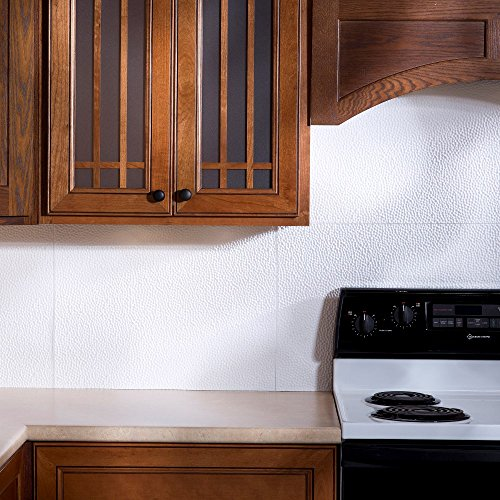Matte Copper Backsplash (Fasade Easy Installation Hammered Matte White Backsplash Panel for Kitchen and Bathrooms (18
