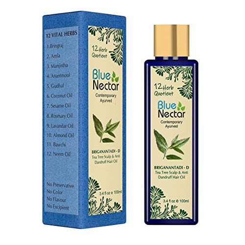 Blue Nectar Tea Tree Healthy Scalp and Anti Dandruff Hair Oil with 14 herbs that are known to reduce Dandruff (100 ml)