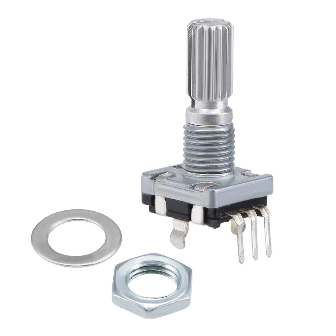 sourcing map 360 Degree Rotary Encoder Code Switch Digital Potentiometer EC11 5 Pins 14mm Shaft 10pcs