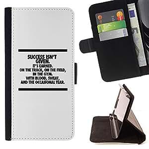BullDog Case - FOR/Samsung Galaxy S6 / - / success inspiring message text minimalist /- Monedero de cuero de la PU Llevar cubierta de la caja con el ID Credit Card Slots Flip funda de cuer