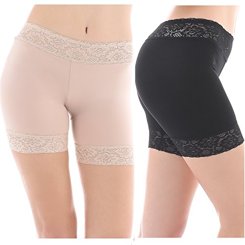 Yulee Women's Lace Underskirt Short Leggings Slip Shorts 2 Pack Boxer Briefs