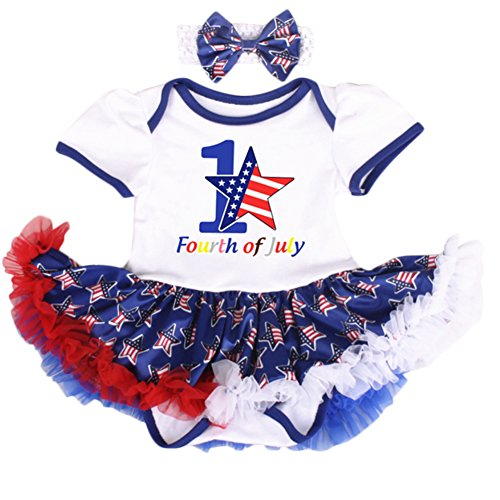 IBTOM CASTLE Baby 4th of July White Red Bodysuit Tutu Outfit #3-White Stars (2PCS) 0-3 Months