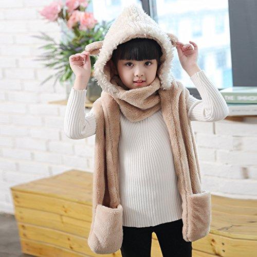 Kids Girl Soft Plush Faux Fur Hat Scarf Mitten Combo Neckwarmer Hood Scarf  Gift c6cc8e6505f