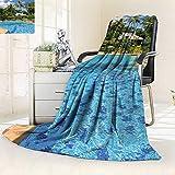YOYI-HOME Lightweight Duplex Printed Blanket Swimming Pool in spa Resort Digital Printing Blanket/79 W by 47'' H