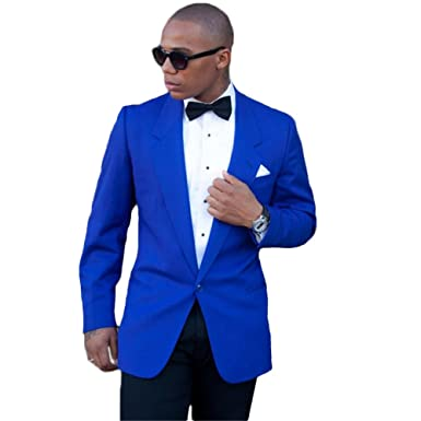 blue blazer and black pants