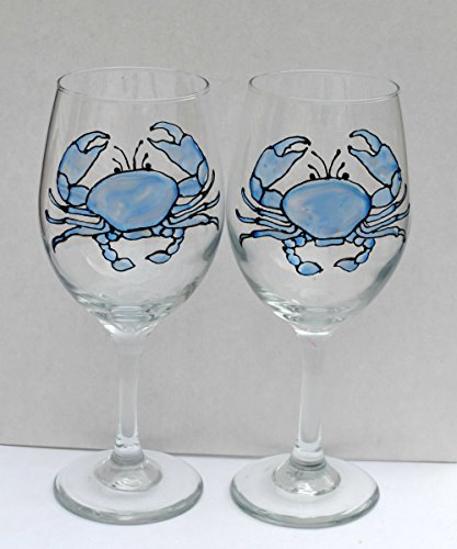 Blue Crab Hand Painted Stained Glass 20 oz Stemmed Wine Glasses (Set of 2) Nautical Decor - Maryland Stained Glass