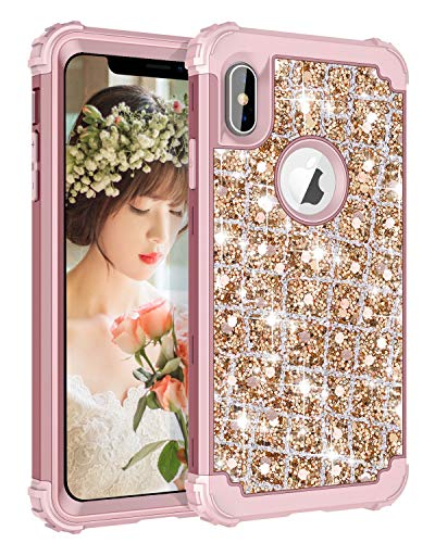 Hekodonk Compatible iPhone Xs Max Case 3D Luxury Sparkle Glitter Shiny Heavy Duty Hybrid Armor High Impact Shockproof Protective Cover Case for Apple iPhone 10S Max 6.5 - Bling Rose Gold