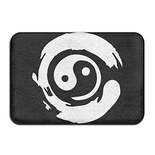 (Kuytresdf Chinese Black and White Bonsai Tree in Yin Yang Rectangle Front Welcome Door Mat Indoor Entrance Durable Heat-Resisting Non-Slip Rug Size 23.6x15.7)